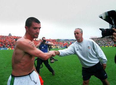 Keane and McCarthy shake hands after the 2001 victory over Holland.