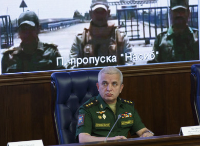 he head of Russia's National Defense Control Center, Colonel General Mikhail Mizintsev, speaks to the media during an inter-agency coordination headquarters meeting and video call between Moscow and Syria in Moscow, last month.