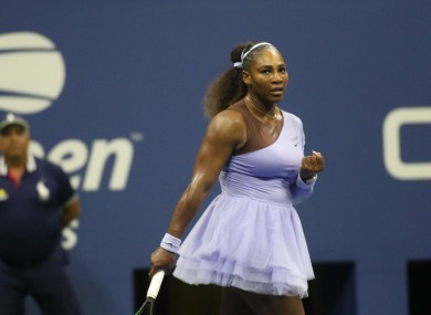 Williams celebrates a point during her US Open semi-final.
