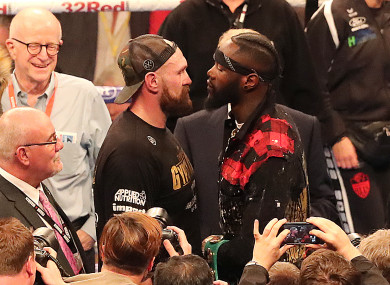 Tyson Fury and WBC heavyweight champion Deontay Wilder at Windsor Park, Belfast in August.