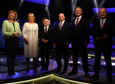 The six candidates in the RTÉ studio last night.