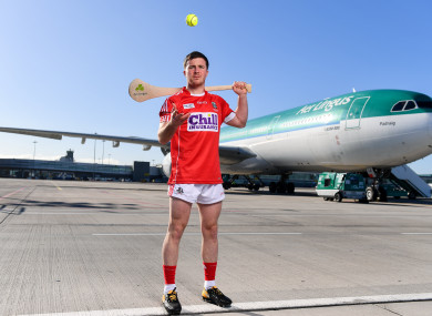 Daniel Kearney at today's Aer Lingus jersey launch for the Fenway Hurling Classic.