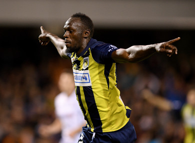 ff95df22b Olympic sprint champion Usain Bolt scores his first professional goals for  Australian A-League side