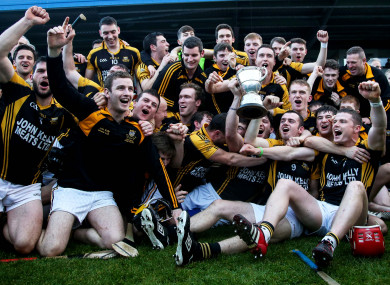 Ballyea players celebrating in 2016 as they won their first county senior hurling title.