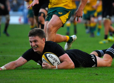Beauden Barrett scores New Zealand's third try in Yokohama.