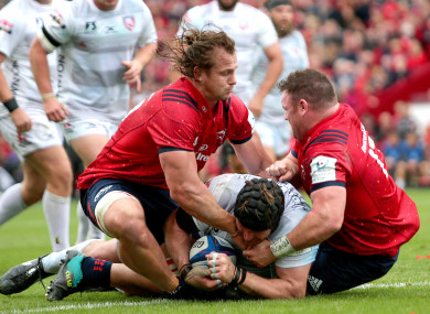Kilcoyne, right, and Arno Botha try to prevent Ben Morgan grounding his late try.