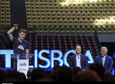A ceremony announcing the new ten-year deal for the Lisbon Web Summit this morning