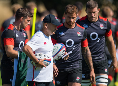 George Ford, Eddie Jones, Danny Cipriani and Mark Wilson during a training session in August.