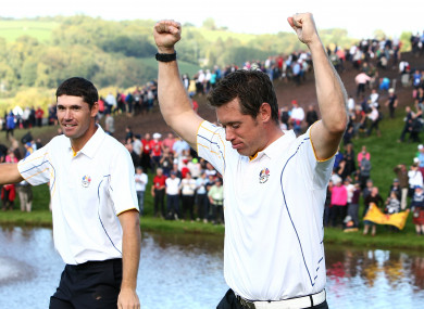 Harrington and Westwood pictured together at the 2010 Ryder Cup at Celtic Manor Resort.