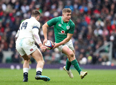 Ireland's Jordan Larmour featured for Ireland in their Grand Slam decider against England.