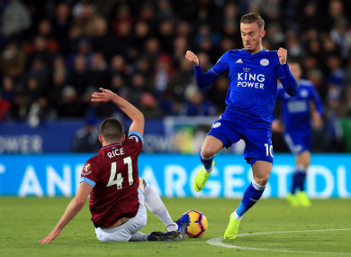 West Ham United's Declan Rice (left) and Leicester City's James Maddison battle for the ball.