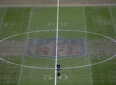 The NFL markings were still visible on Monday night.