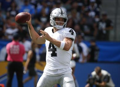 Oakland Raiders quarterback Derek Carr (file pic).