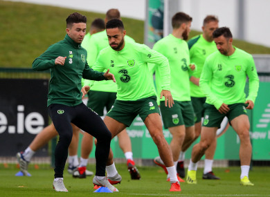 Sean Maguire and other Irish players pictured training on Friday.