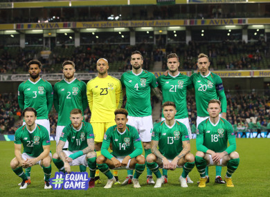 The Ireland team pictured ahead of the Wales game.