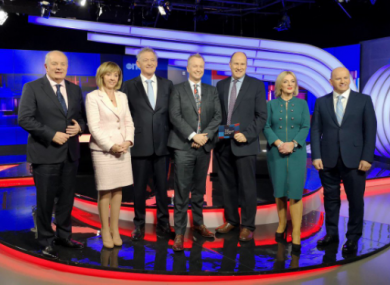 The five presidential candidates with hosts Matt Cooper and Ivan Yates ahead of this year's final presidential debate
