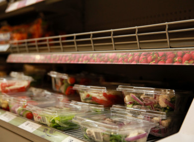 An empty strawberry shelf in a supermarket in Sydney, Australia