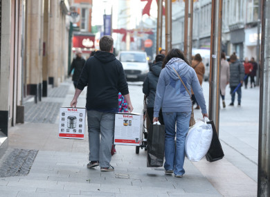 Bargain hunters do some early shopping in Dublin this morning.