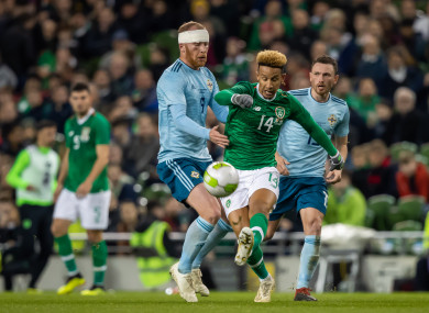 Callum Robinson facing Northern Ireland earlier this month.