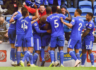 Sol Bamba celebrates with team-mates after scoring a late winner on Saturday.