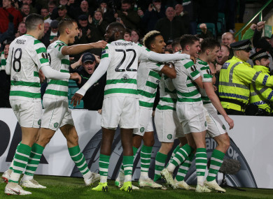 Celtic's Kieran Tierney celebrates scoring his side's first goal of the game.