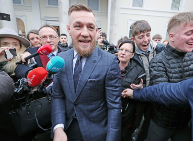 Conor McGregor leaving Naas District Court in Co Kildare today.