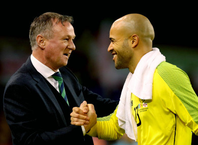 Randolph and Northern Ireland manager Michael O'Neill after the final whistle.