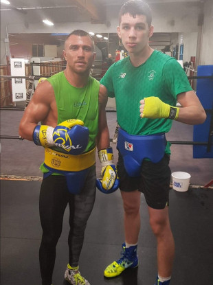 Vasyl Lomachenko and Stevie McKenna after a sparring session on Monday night