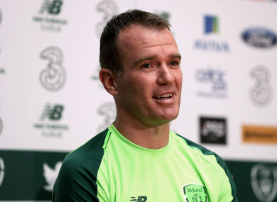 Glenn Whelan pictured at today's press conference.