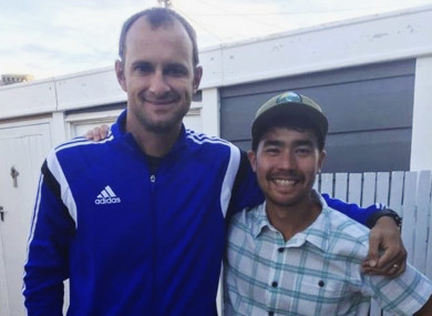 American adventurer John Allen Chau, right, stands for a photograph with Founder of Ubuntu Football Academy Casey Prince just days before he left for India