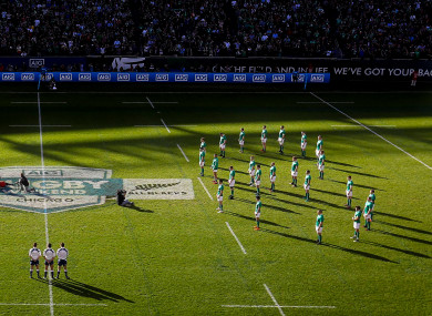 Ireland team face the Haka in a shape of eight in memory of Anthony Foley.