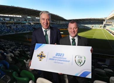 FAI Chief Executive John Delaney and Irish FA Chief Executive Patrick Nelson at Windsor Park yesterday.