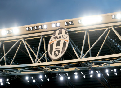 A view of the club crest at Juventus Stadium.
