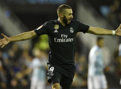 Real Madrid's Karim Benzema celebrates his goal against Celta Vigo.