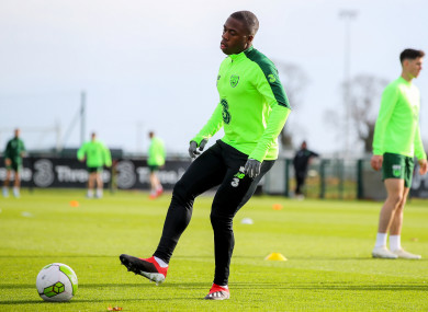 Michael Obafemi trains with the Ireland squad today.
