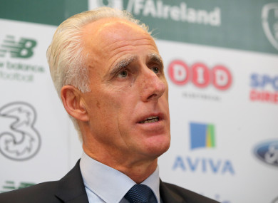 Mick McCarthy speaks today at a press conference in Dublin.