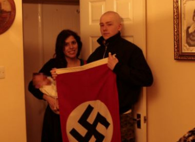 Patatas and Thomas pictured with a Nazi flag