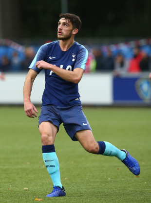 Parrott in action for Tottenham in Eindhoven on Tuesday afternoon.