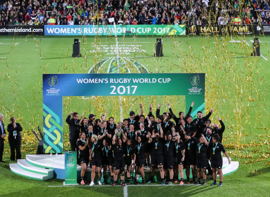 The New Zealand players rejoice after winning the 2017 Women's Rugby World Cup.