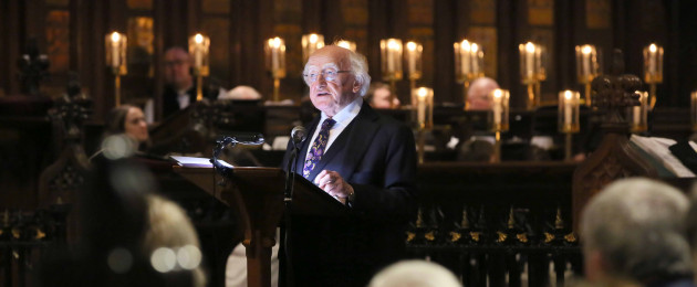 President Michael D Higgins at an Evensong at Saint Patrick's Cathedral to remember the contributions of all those from the arts who have died