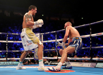 Tony Bellew is knocked down in the eighth round by Oleksandr Usyk.