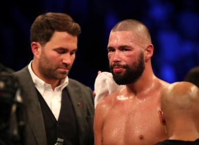 Tony Bellew alongside Eddie Hearn after his defeat to Oleksandr Usyk.