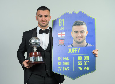 Duffy pictured with his award at the Marker Hotel in Dublin on Saturday.