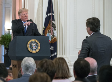 Trump during the confrontation with Acosta