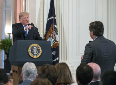 Trump responding to a question from CNN White House correspondent Jim Acosta last week