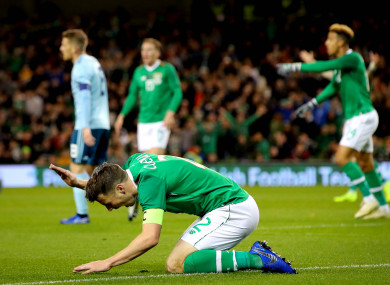 Republic of Ireland's Seamus Coleman shows his frustration during the match against Northern Ireland.