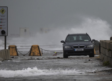 Dublin's South Wall during Storm Diana.