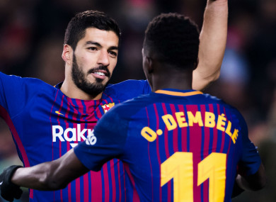 Luis Suarez and Barcelona team-mate Ousmane Dembele