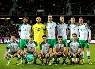 Ireland pictured before Monday's draw with Denmark.