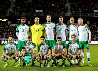 The Ireland team line up before the Denmark game.